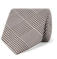 Kingsman Drake's 7.5Cm Prince Of Wales Checked Silk Tie Brown