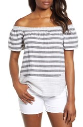 Lucky Brand Off The Shoulder Top Grey Multi