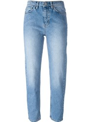 Wood Wood Cropped Straight Leg Jeans Blue