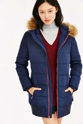 Levi's Long Hooded Puffer Coat Navy