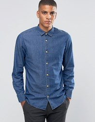 Esprit Denim Shirt With Wood Buttons Dark Wash Blue