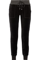 Splendid Velour Cotton Blend Tapered Pants Black