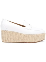 Gabriela Hearst Platform Penny Loafers White