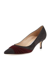 Manolo Blahnik Golda Ruched Suede Pointy Pump Navy