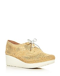 Robert Clergerie Vicolem Open Weave Wedge Oxfords Light Beige