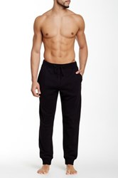 Majestic Rib Trim Fleece Lounge Pant Black