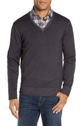 Morgano Men's V Neck Merino Wool Sweater Charcoal