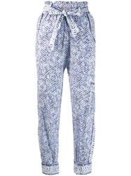 Lala Berlin Printed Paper Bag Trousers White