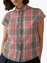 Toast Aubrey Seersucker Check Cotton Shirt Red Multi
