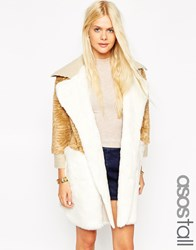 Asos Tall Coat In Patchwork Faux Fur And Faux Shearling Multi