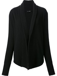 Ann Demeulemeester Shawl Ribbed Lapel Cardigan Black