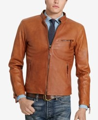 Polo Ralph Lauren Men's Cafe Racer Leather Jacket Old Amber