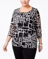 Alfani Plus Size Tiered Printed Mesh Top Only At Macy's Black Square Arrangement
