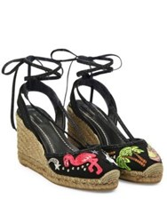 Marc Jacobs Nathalie Embroidered Wedge Espadrilles Black Multi