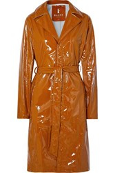 Rains Glossed Pu Trench Coat Tan