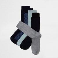 River Island Mens Navy And Blue Socks Pack