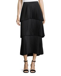 A.L.C. Harley Tiered Pleated Long Skirt Black