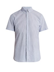 Oliver Spencer Aston Short Sleeved Cotton And Linen Blend Shirt Blue