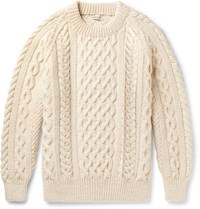 Connolly Hand Knitted Aran Wool Sweater Beige