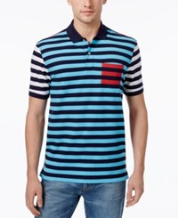 Club Room Men's Striped Performance Polo Only At Macy's Clear Skies