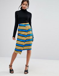 Liquorish Striped Wrap Midi Skirt With D Ring Blue And Yellow Multi
