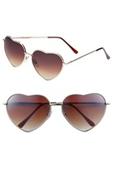 Junior Women's Bp. Heart Shaped 58Mm Sunglasses Gold Brown