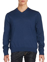 Saks Fifth Avenue V Neck Merino Wool Sweater Blue