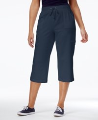 Karen Scott Petite French Terry Pull On Capri Pants Only At Macy's Intrepid Blue