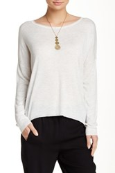 Splendid Scoop Neck Hi Lo Sweater White