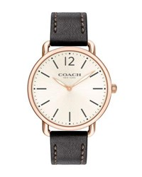 Coach 40Mm Delancey Slim Leather Watch Dark Brown