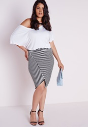 Missguided Plus Size Asymmetric Black And White Textured Skirt Black