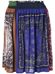 Jean Paul Gaultier Vintage Bandana Print Gathered Skirt Blue