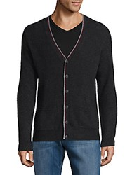 Saks Fifth Avenue Tipped Cashmere Cardigan Charcoal