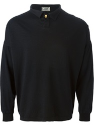 Versace Vintage Long Sleeve Polo Shirt Black
