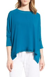 Eileen Fisher Women's Knit Trim Boxy Silk Poncho Top Jewel