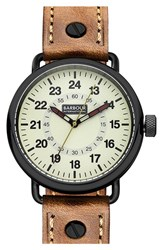 Men's Barbour 'International' Leather Strap Watch 44Mm
