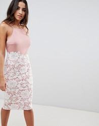 Girl In Mind Lace Low Back Midi Dress Pink