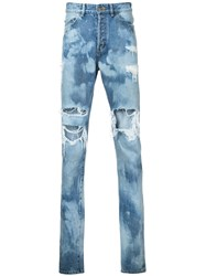 Hl Heddie Lovu Distressed Bleach Jeans Blue