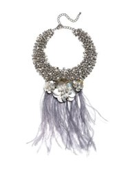 Badgley Mischka Pearl And Feather Statement Necklace Silver