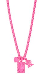 Luv Aj The Rainbow Triple Charm Necklace Neon Pink
