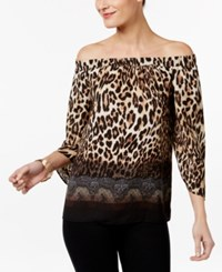 Thalia Sodi Printed Off The Shoulder Top Only At Macy's Taupe Combo