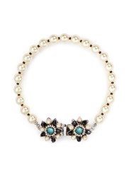 Miriam Haskell Floral Clasp Glass Pearl Bracelet Multi Colour