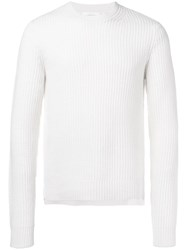 Helmut Lang Ribbed Knit Sweater White