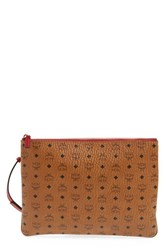 Mcm 'Heritage' Convertible Coated Canvas Zip Pouch Brown Cognac