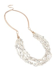 Kenneth Cole Color Items Semi Precious Howlite Chip Beads Multi Row Layered Long Necklace White