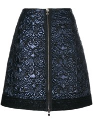 D.Exterior Quilted A Line Skirt Women Polyester Wool 44 Blue