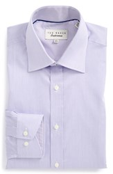 Ted Baker Men's Big And Tall London 'Oncore' Trim Fit Micro Stripe Dress Shirt Purple