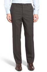 Men's John W. Nordstrom Flat Front Check Wool Trousers Brown