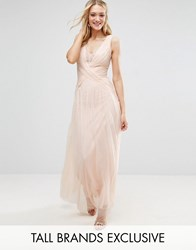 Little Mistress Tall Pleated Wrapover Maxi Dress With Lace Trim Nude Beige