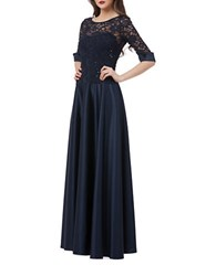 Js Collections Two Piece Lace Top And Satin Skirt Set Navy